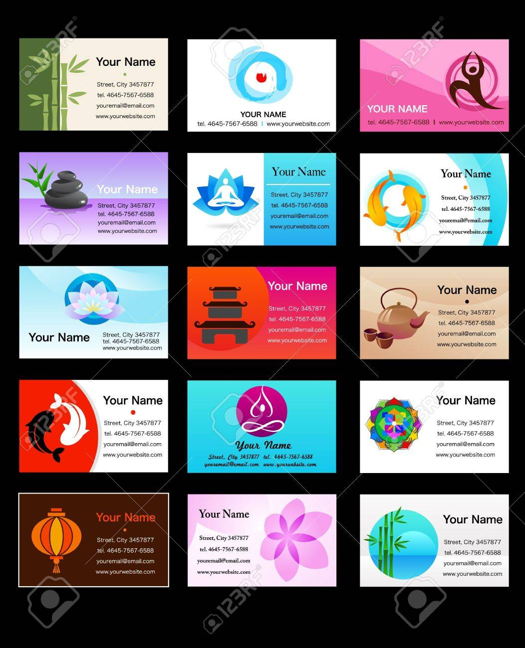 Yoga And Zen Business Card Templates - Vector Illustration Stock ...