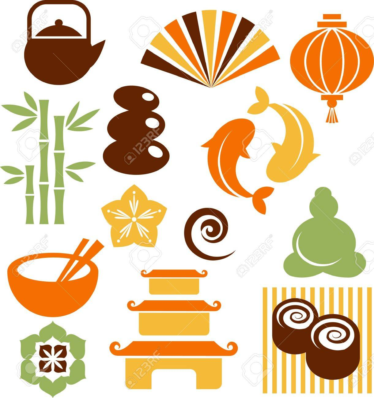 Collection of colorful Zen icons - vector illustration Stock Photo - 6451950