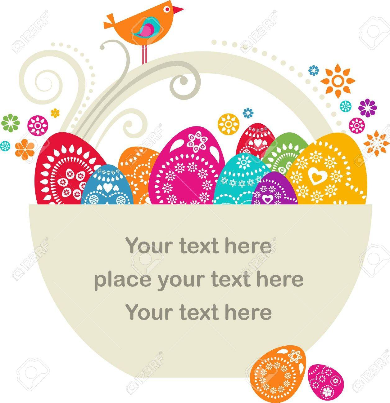 Easter card template -  basket with colored eggs and flowers Stock Photo - 6481656