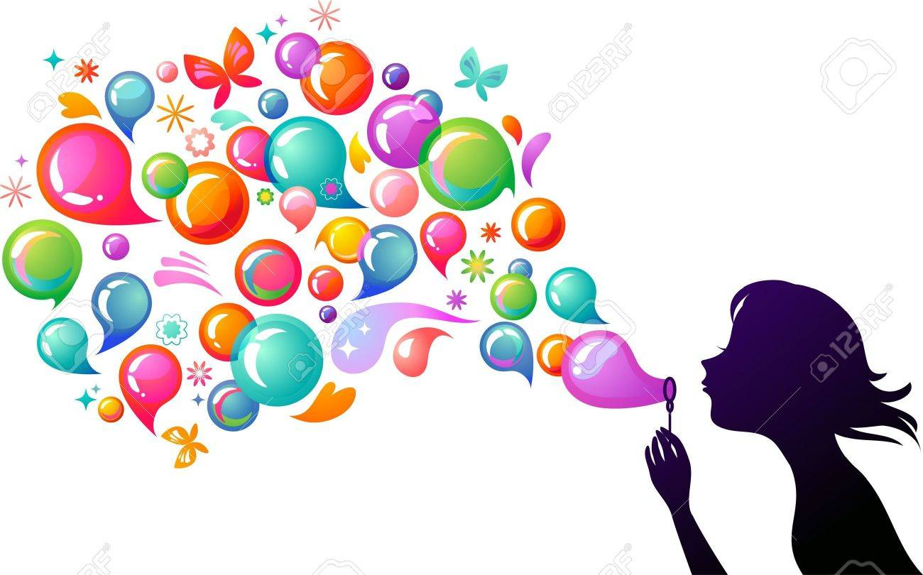 Young girl blowing soap bubbles Stock Vector - 6789377