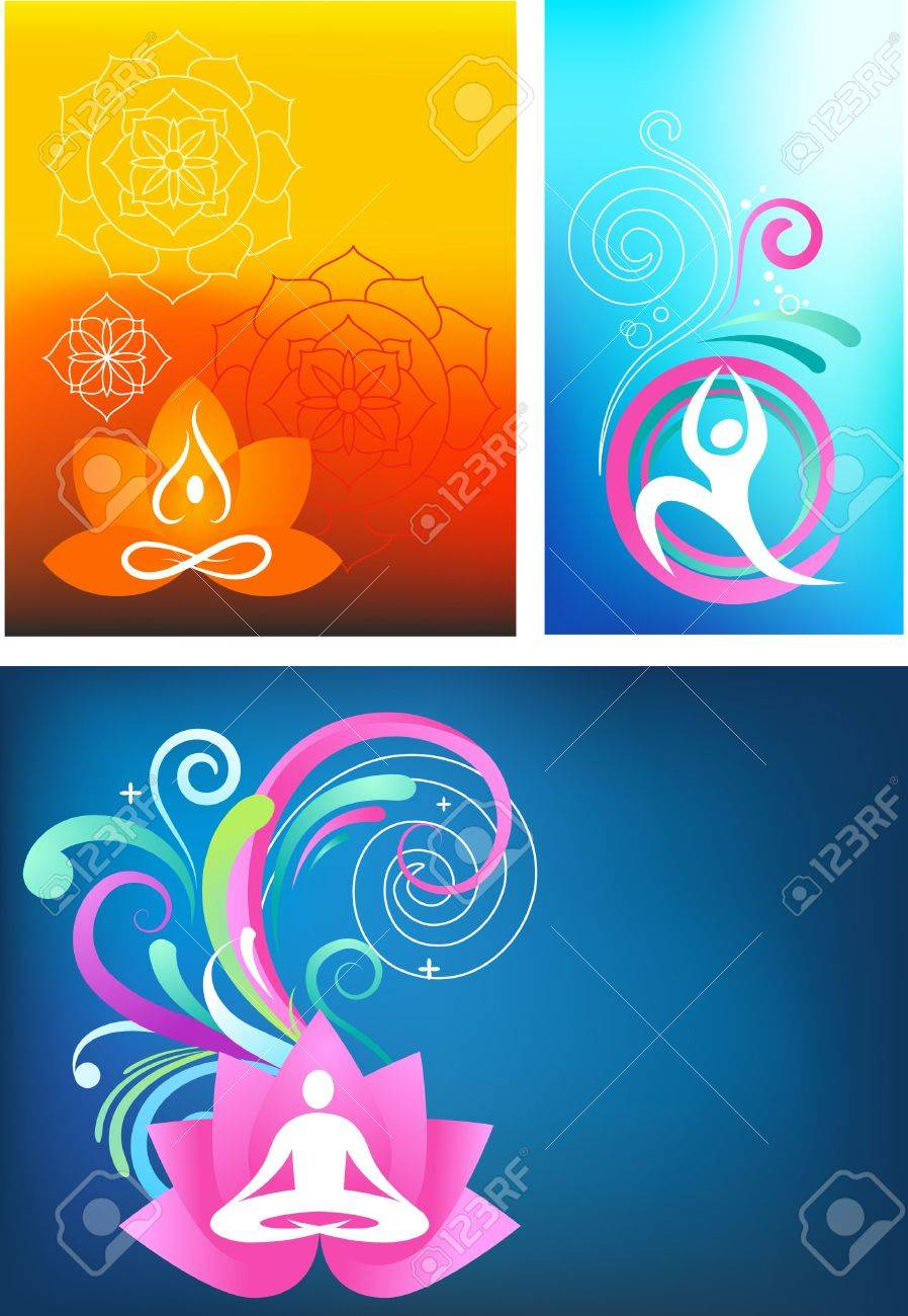 Three colorful yoga backgrounds Stock Vector - 6789376