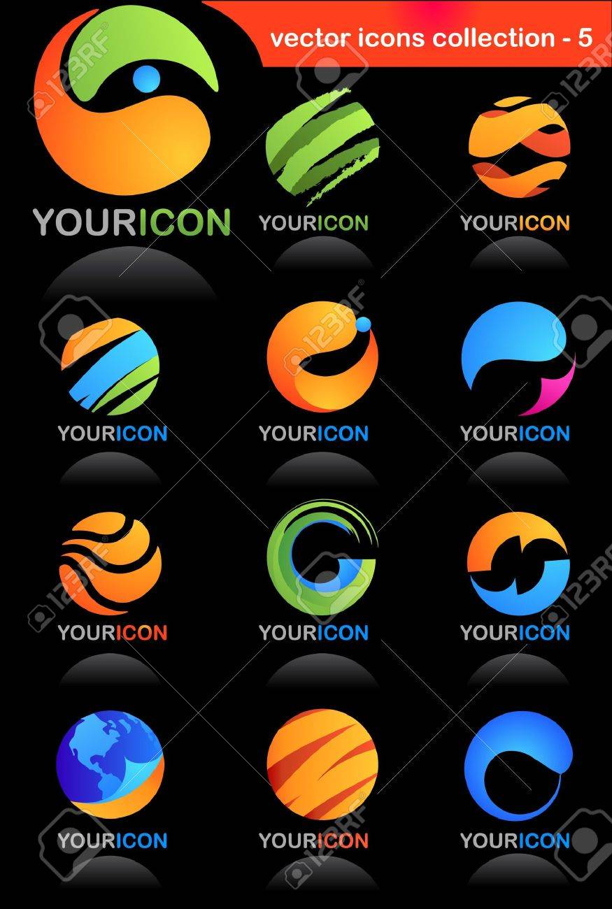 Collection of global business icons Stock Vector - 6900357