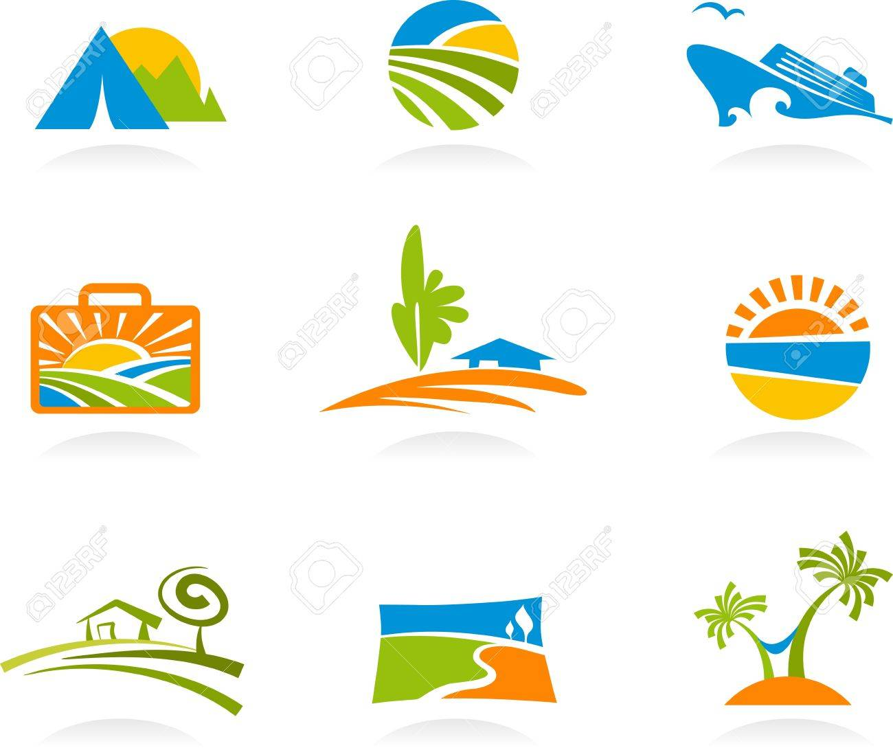 Collection of colourful tourism and vacation icons and logos Stock Vector - 6974446