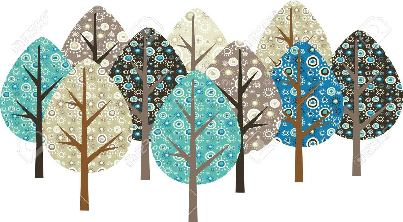 Decorative trees with grunge patterns Stock Vector - 7143424
