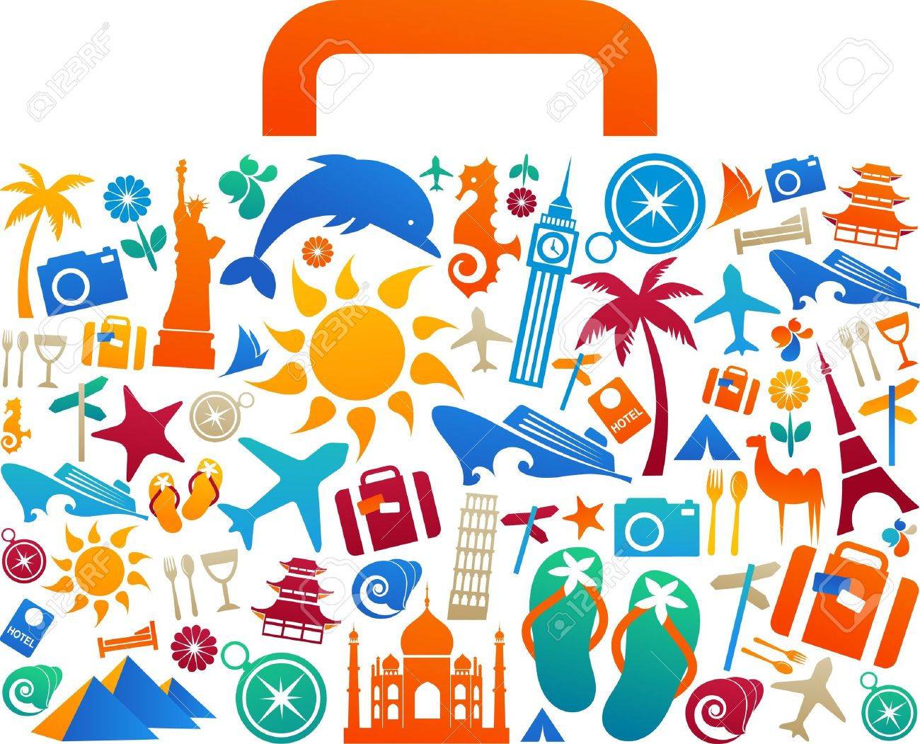 Travel suitcase with many colourful tourism and vacation icons and logos Stock Vector - 7143426