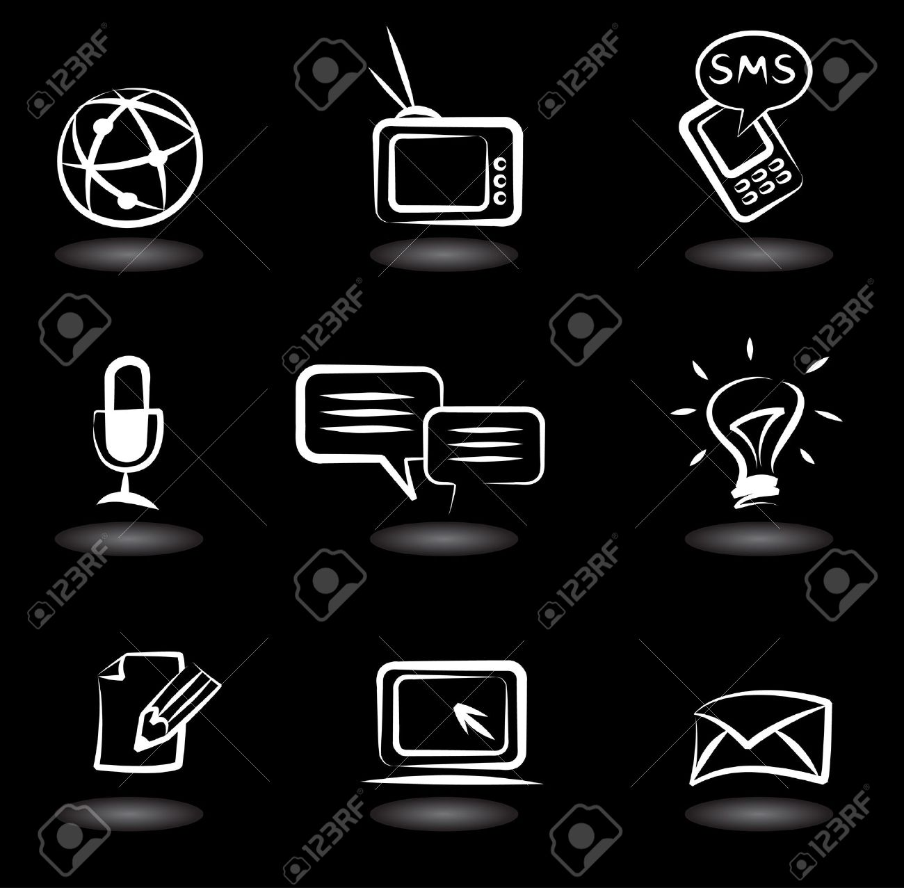 Collection Of Communication Icons On Black Background Royalty Free