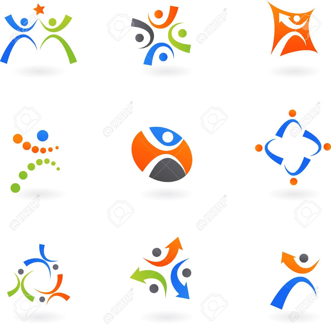 Collection of human icons and logos Stock Vector - 7306475