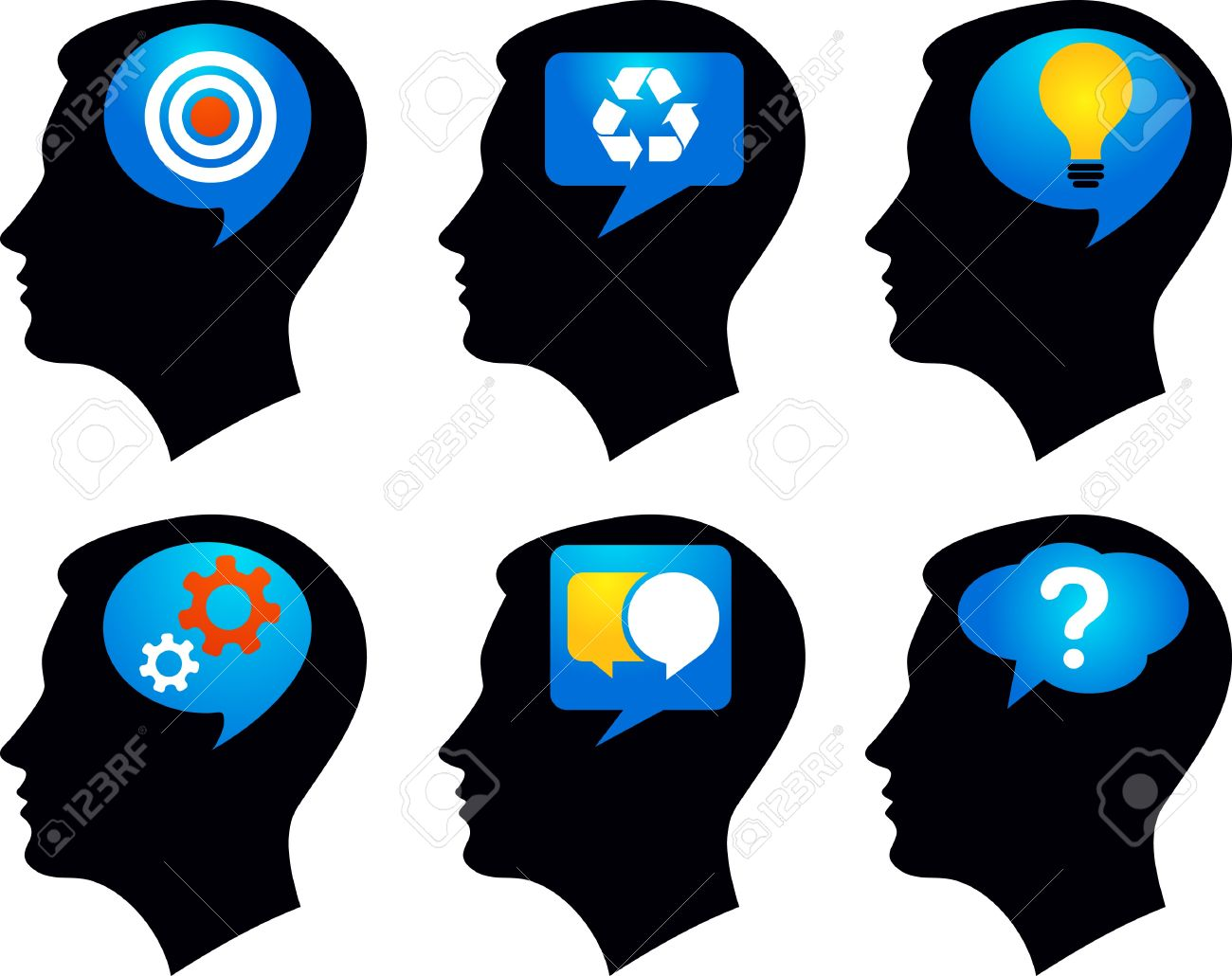 Six black profiles with colorful idea symbols Stock Vector - 7368684
