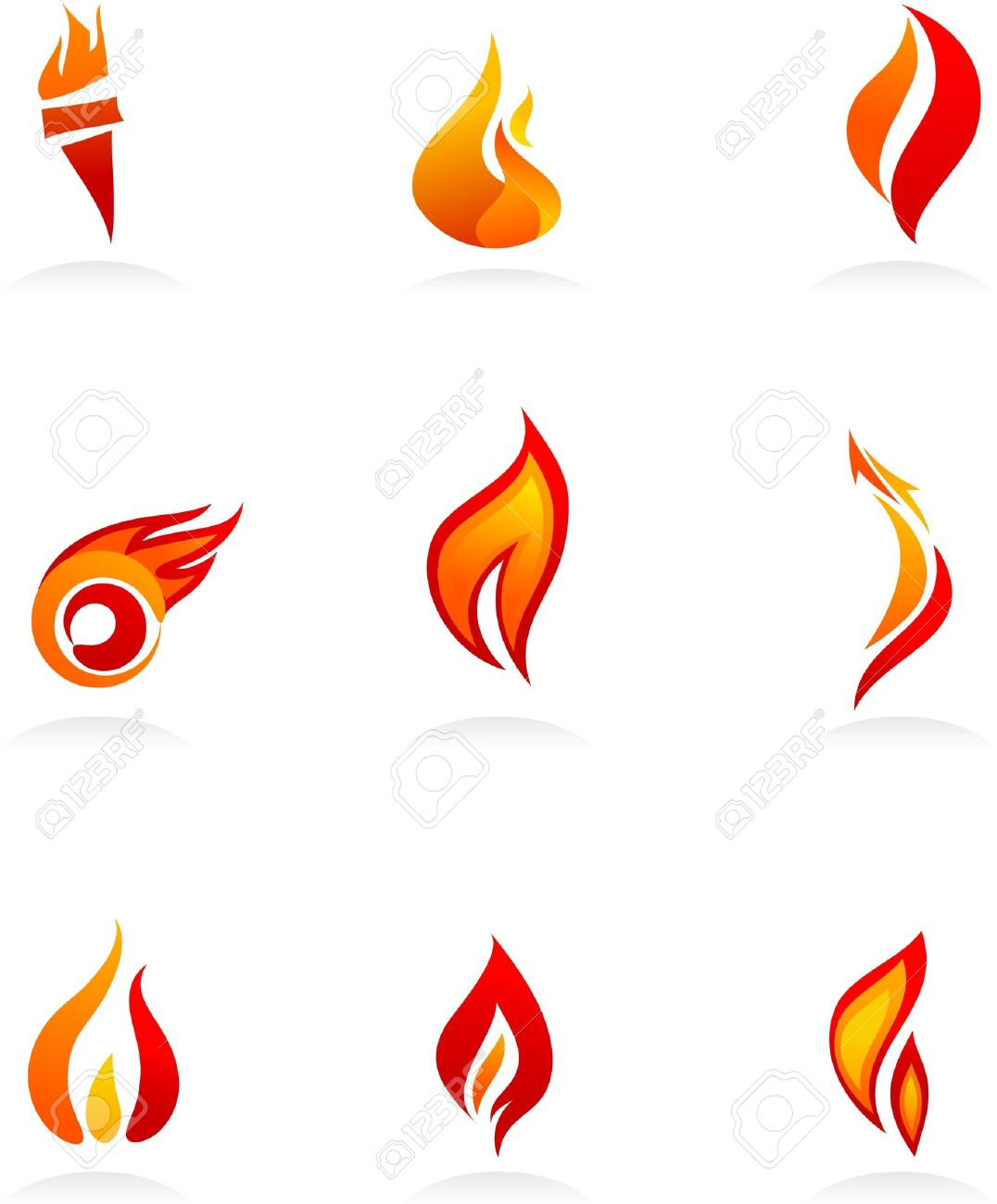 Collection Of Fire Icons And Logos Royalty Free Cliparts, Vectors ...