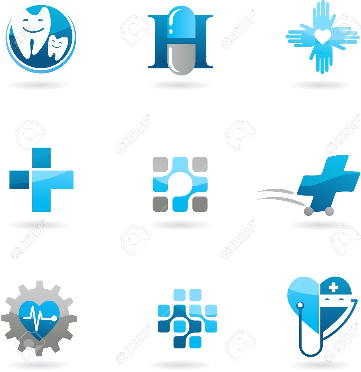 Collection of blue medicine and health-care icons and logos Stock Vector - 7824835