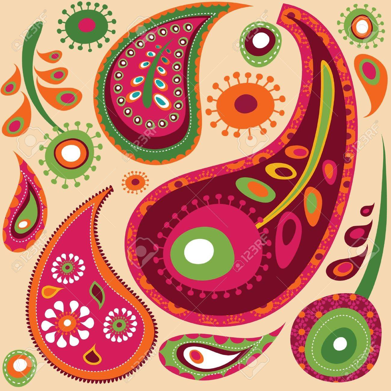 Exotic colorful paisley  wallpaper pattern Stock Vector - 7824872