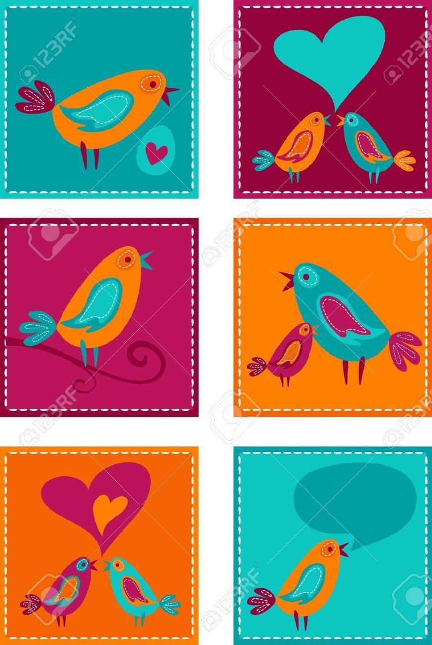 Cute colorful bird doodles Stock Vector - 7824869