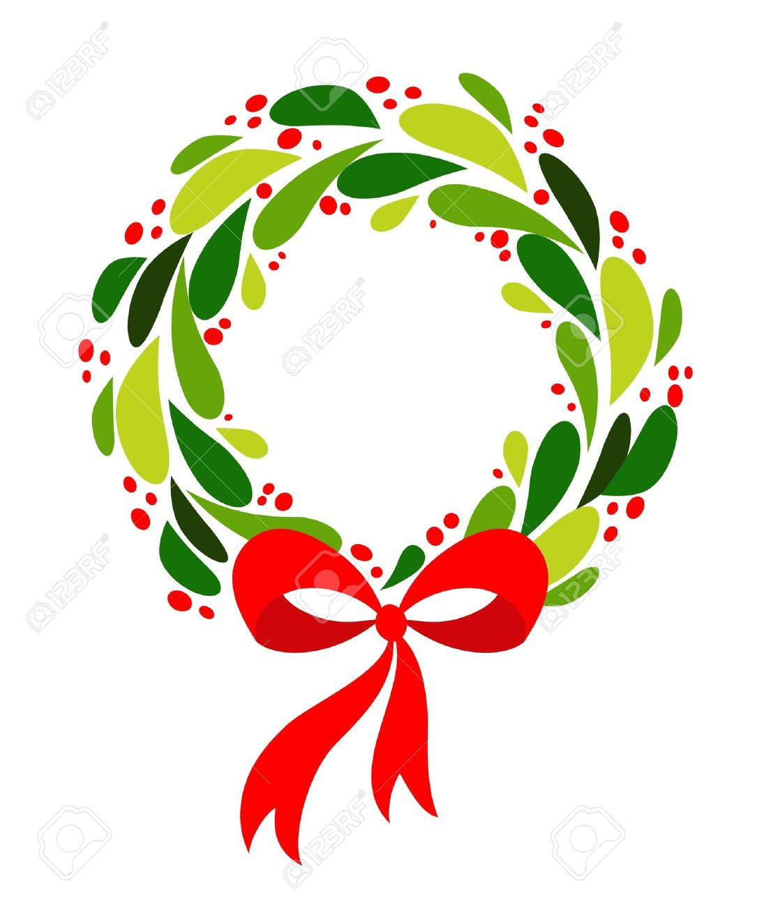 Christmas Wreath Clipart.Christmas Wreath With Red Bow