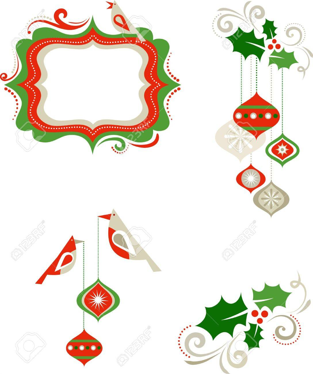 Christmas graphic elements - frame, birds and decorations Stock Vector - 7977994