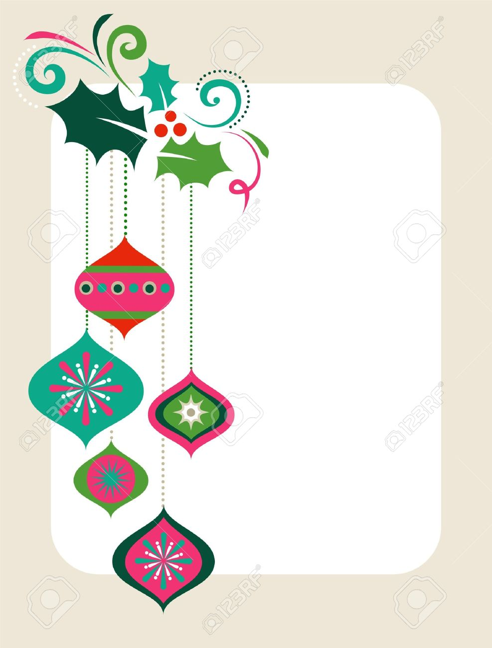 Christmas frame with holly leaves and decorations Stock Vector - 7977978
