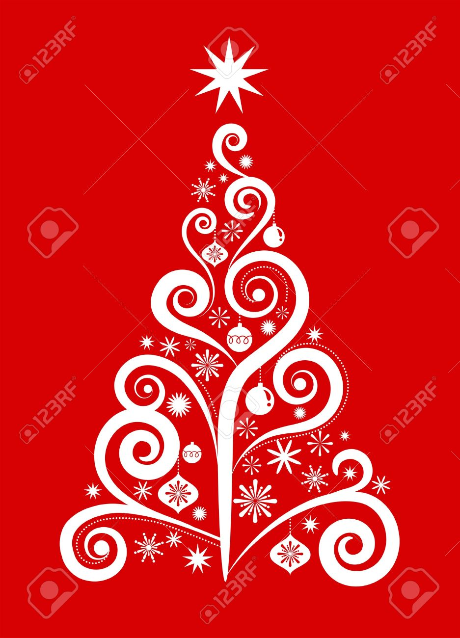 vector white christmas tree on red background