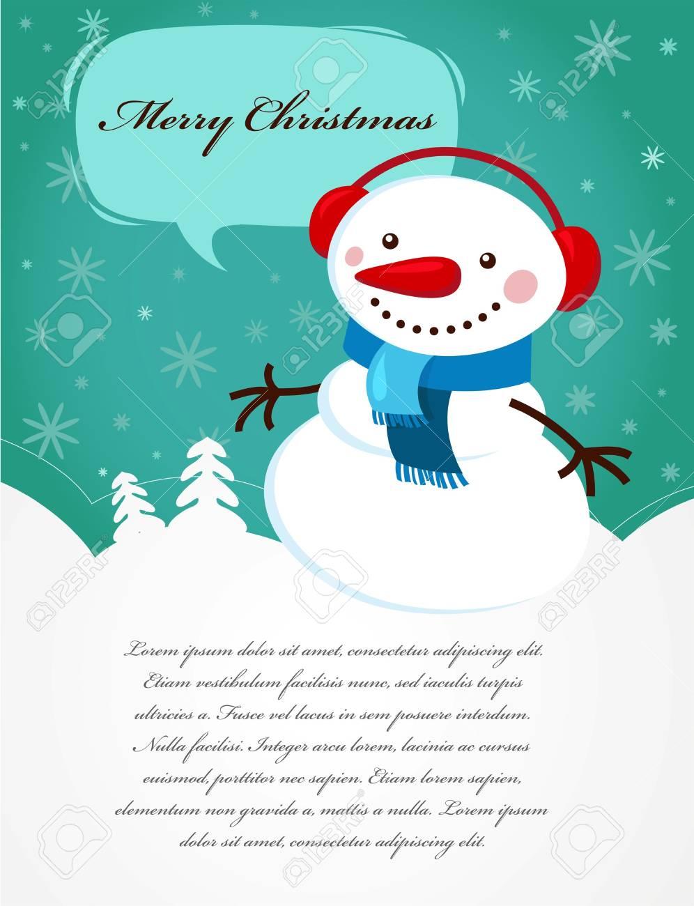 Christmas card with snowman Stock Vector - 7978009