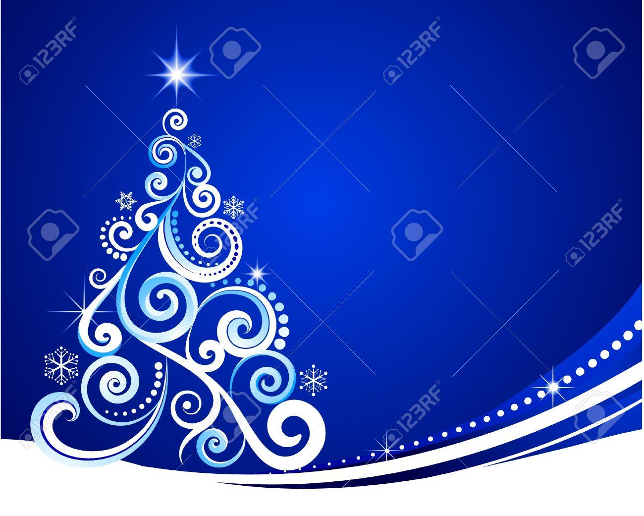 Plantilla De Navidad Azul Con Tumefacción De árbol Ilustraciones ...