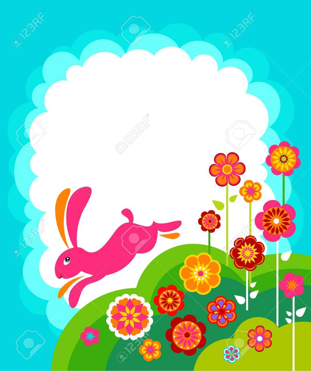 running easter bunny template with white copyspace stock photo