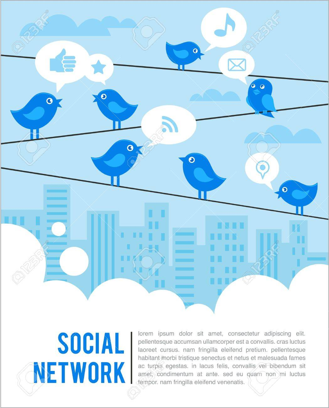 Social network background with birds and icons Stock Vector - 9842782