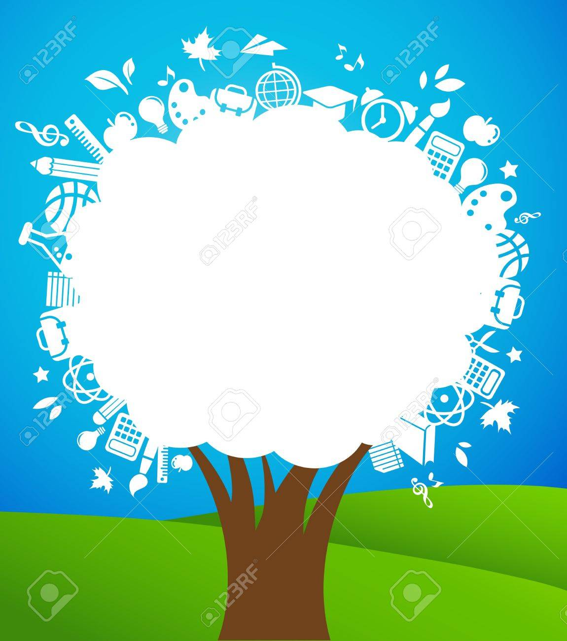back to school - tree with education icons Stock Vector - 9841902
