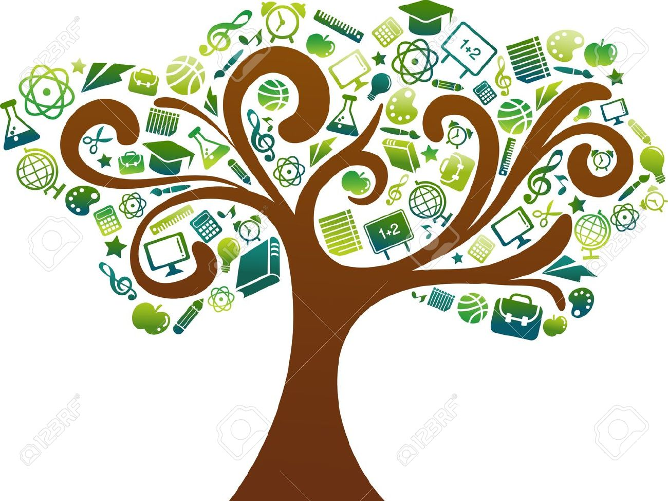 back to school - tree with education icons Stock Vector - 9842781
