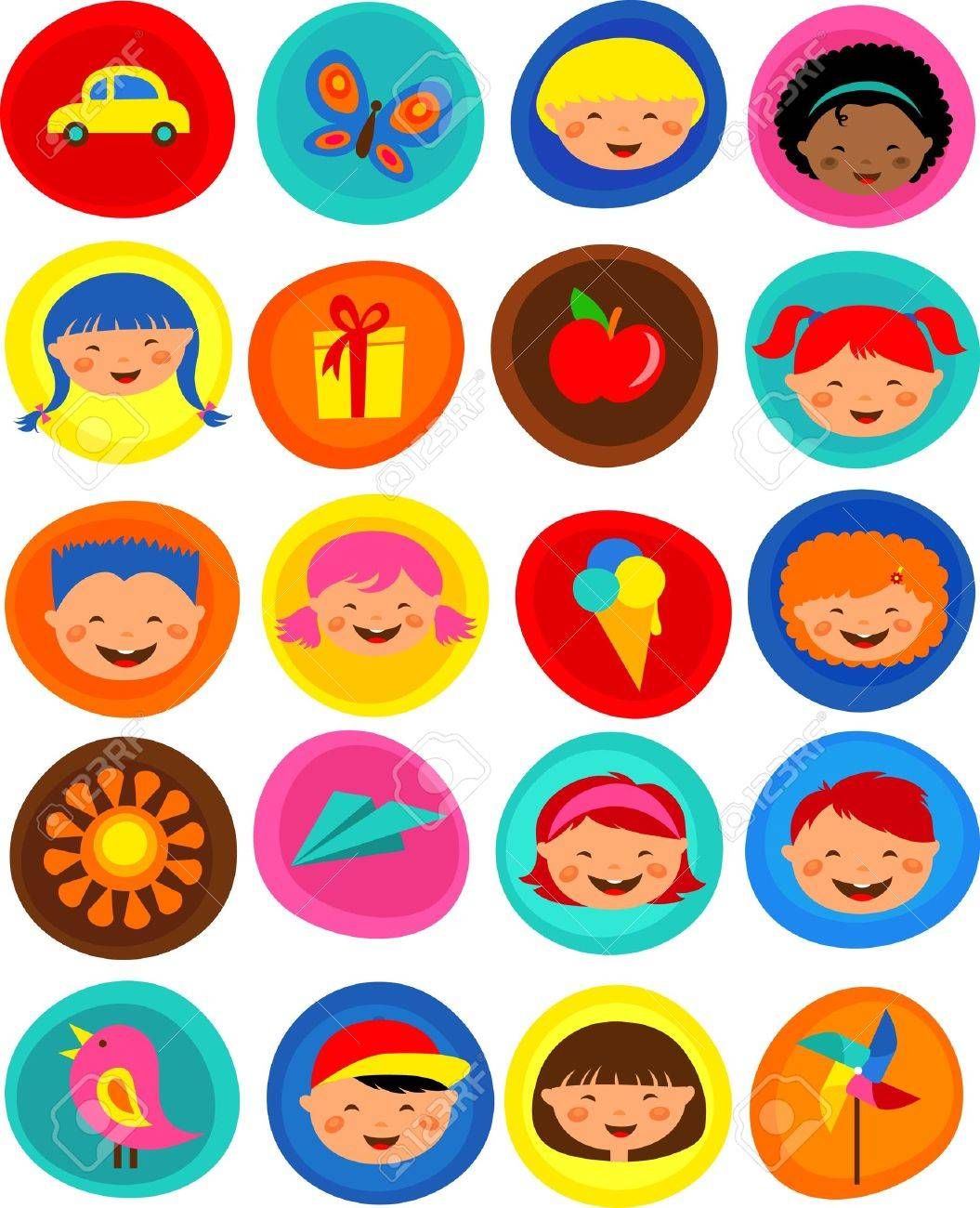 cute kids pattern with icons Stock Vector - 9934694