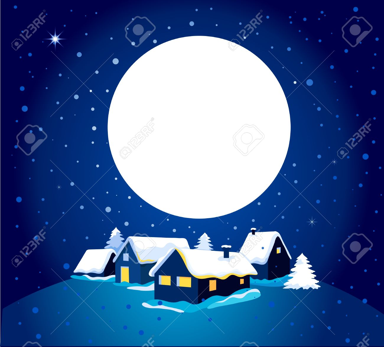 Christmas card with night town and snow Stock Vector - 11037713