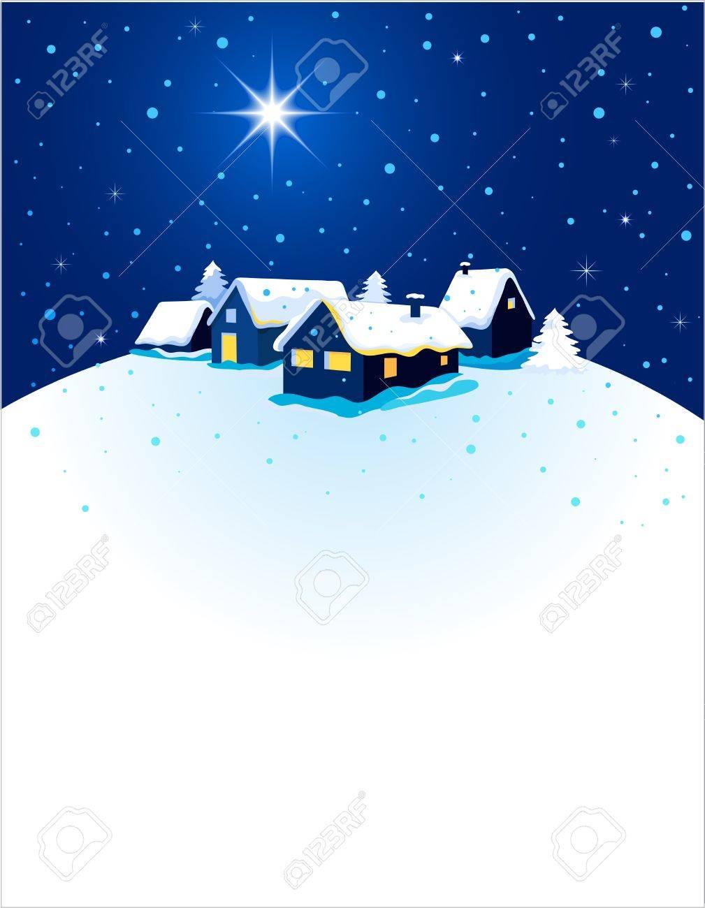Foto Con La Neve Di Natale.Immagini Stock Cartolina Di Natale Con La Citta Di Notte E La Neve Image 11037721