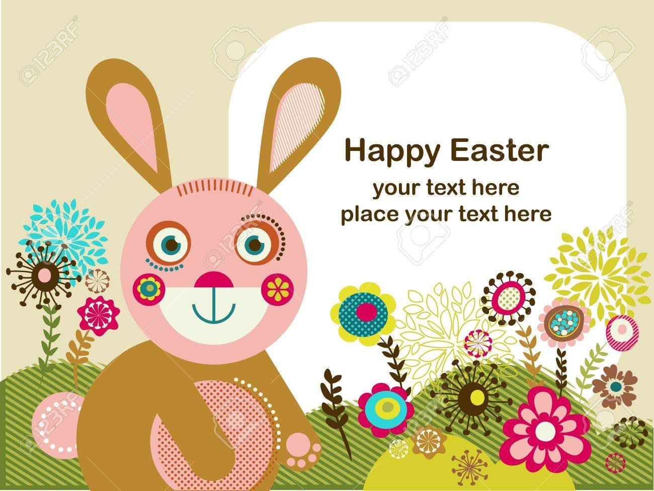 Easter greeting card with bunny Stock Vector - 12389088