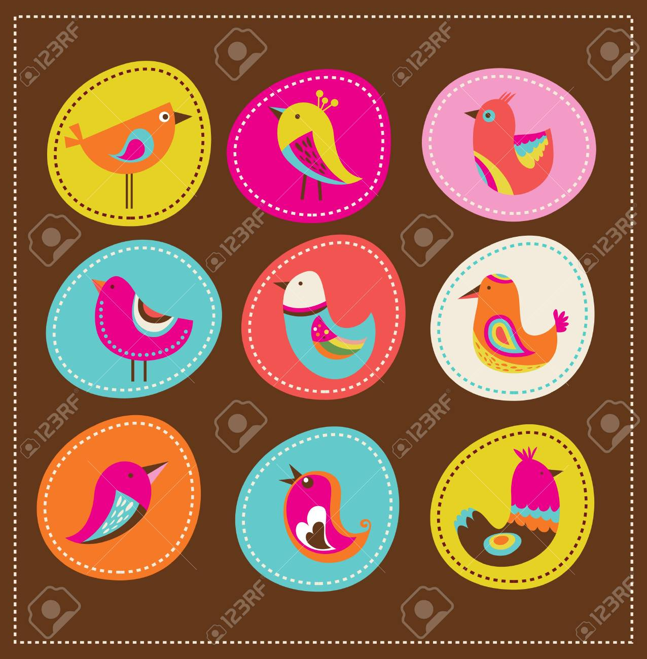 collection of cute decorative birds, greeting card Stock Vector - 12874732