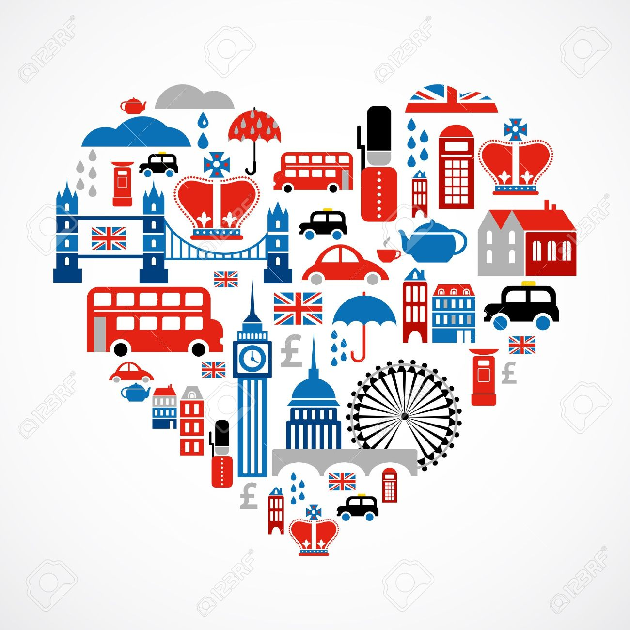 London love - heart with many vector icons Stock Vector - 13873886