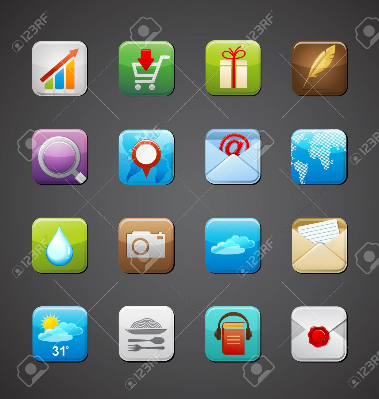 collection of apps icons Stock Vector - 15327292