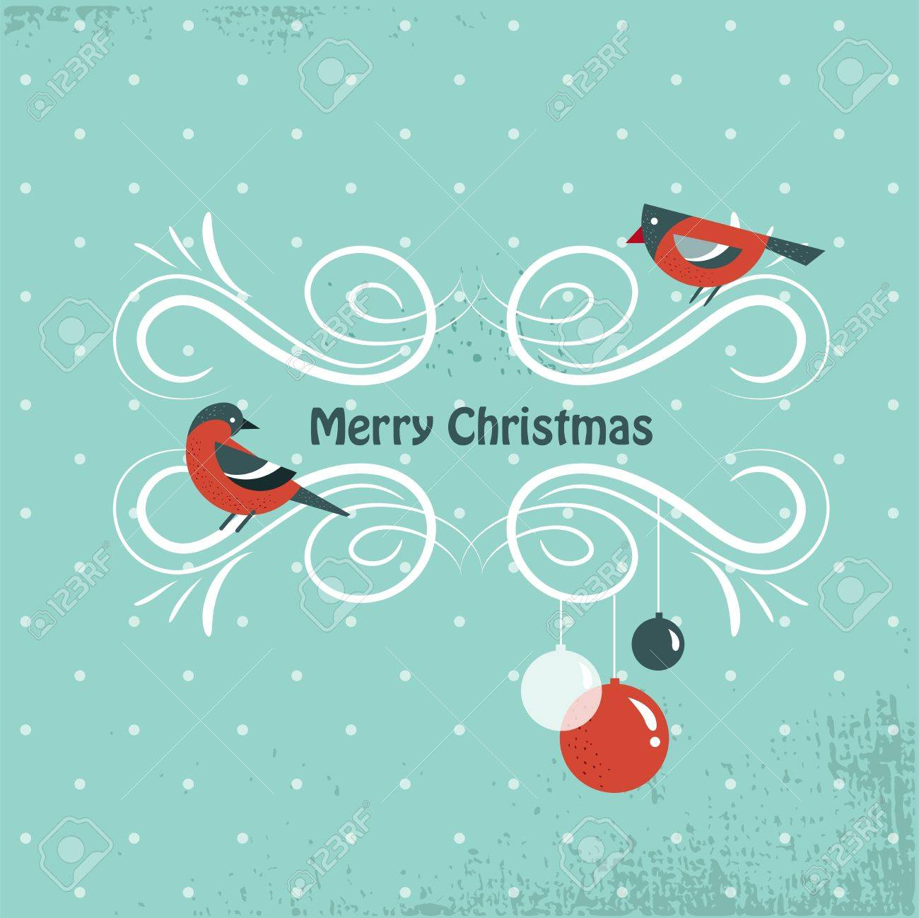 Christmas background with birds and holly leafs Stock Vector - 15569657