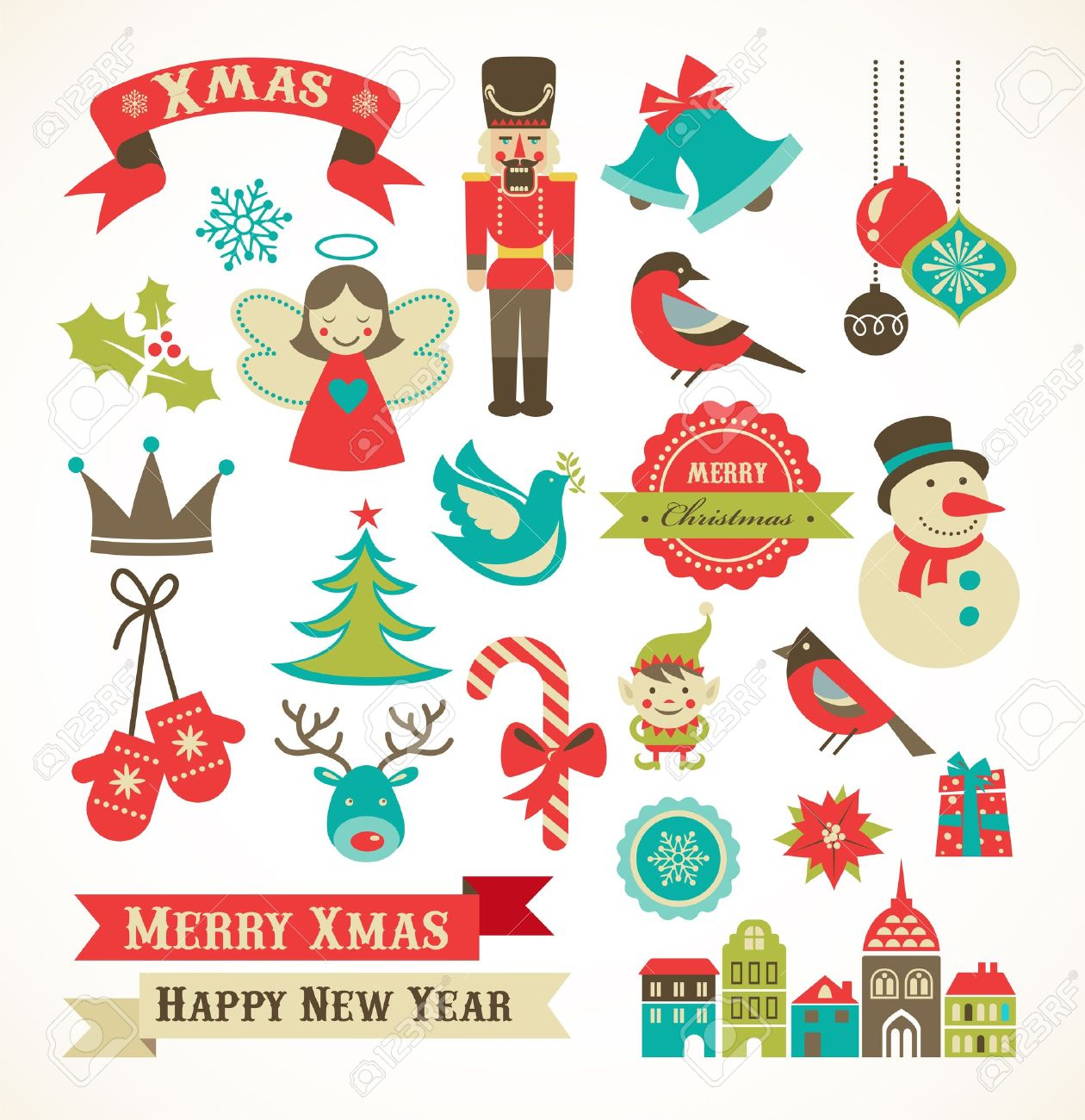 Christmas Illustrations.Christmas Retro Icons Elements And Illustrations