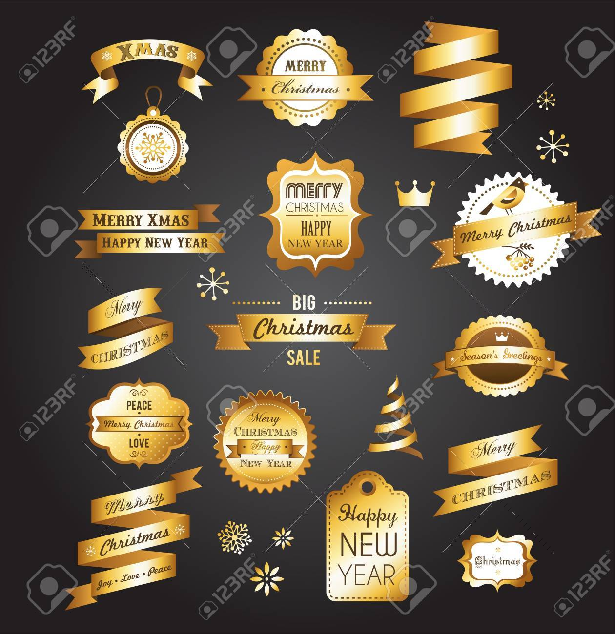 Christmas gold vintage labels, elements and illustrations Stock Vector - 16001683