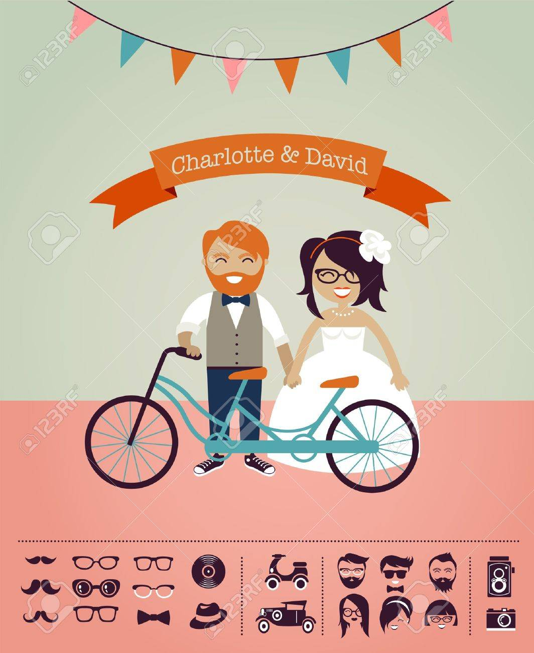 Hipster Wedding Design Your Own Invitation Card Stock Photo