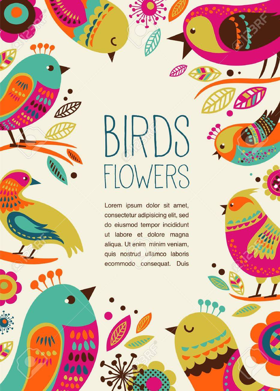 colorful background with cute decorative birds Stock Vector - 18988878