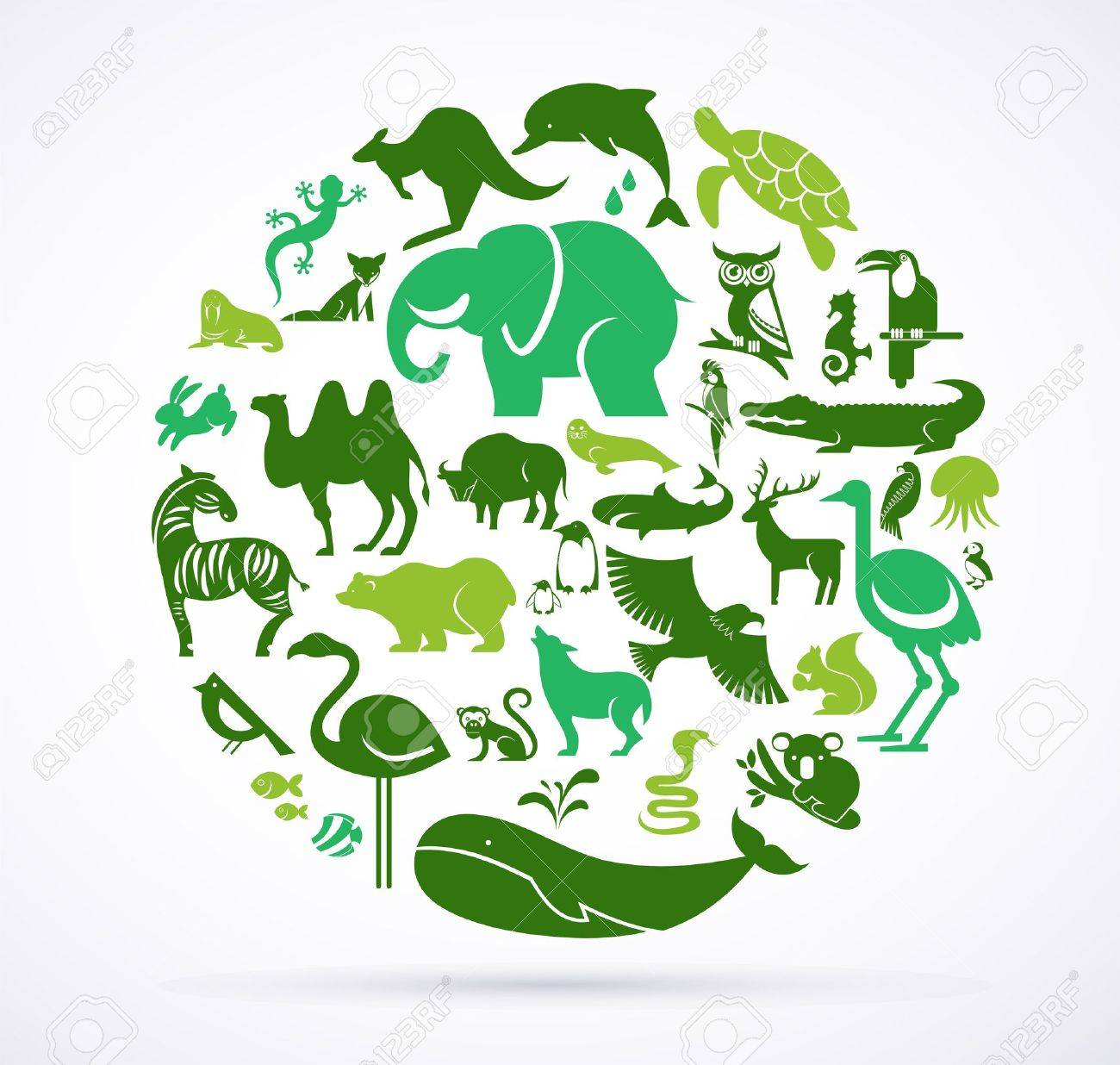 Animal green world - huge collection of icons Stock Vector - 20312641