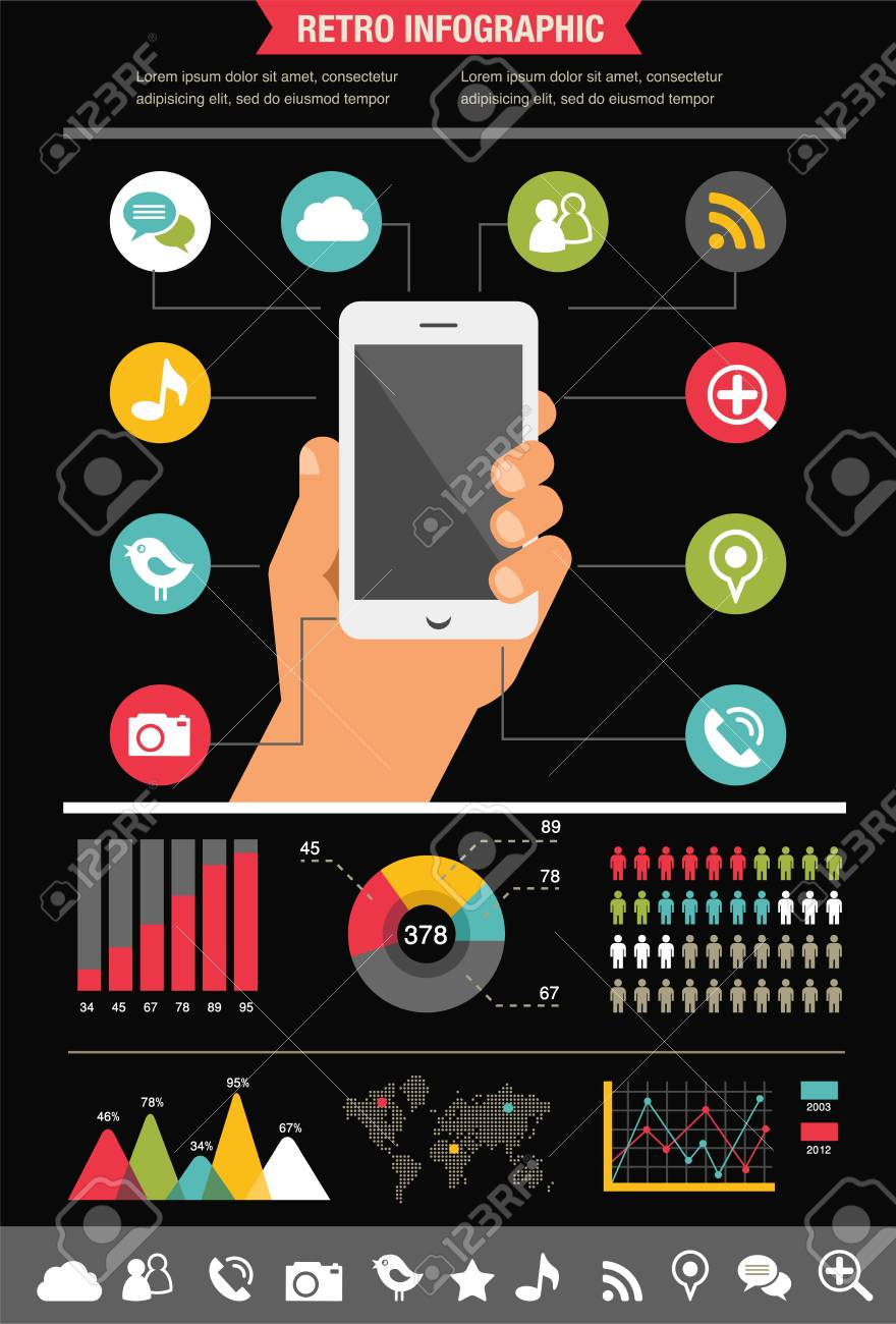 mobile phone with icons - infographic and website background Stock Vector - 20312688