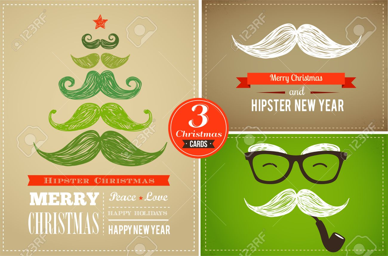 Hipster Greeting Cards Of New Year And Merry Christmas Stock Photo ...