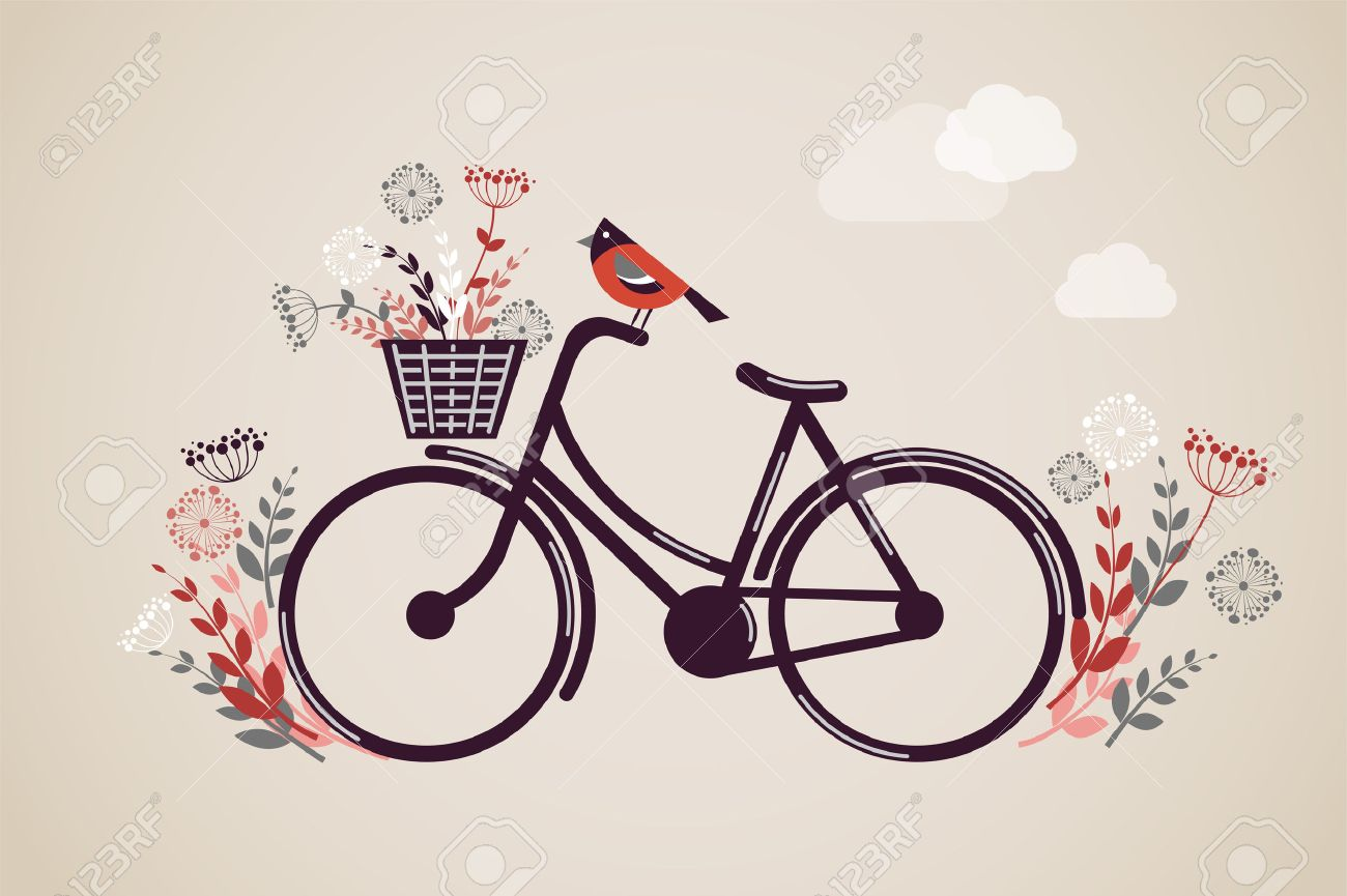 Vintage Retro Bicycle with flowers and bird - 24963352