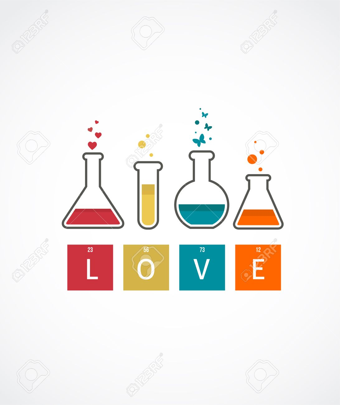 Chemistry Of Love, Valentineu0027s Day Card Stock Vector   25247215