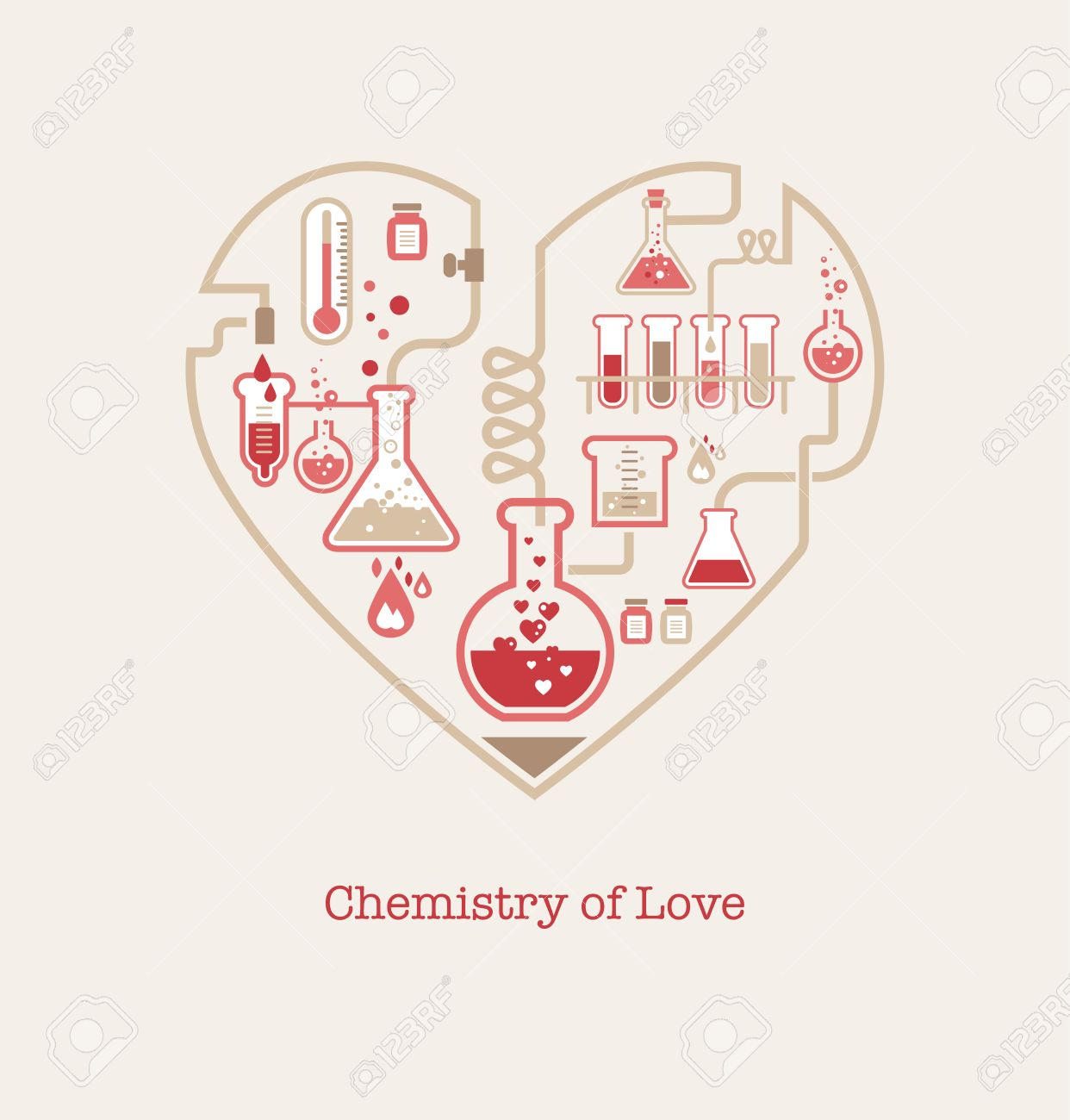 Chemistry Of Love, Valentineu0027s Day Card Stock Vector   25247217
