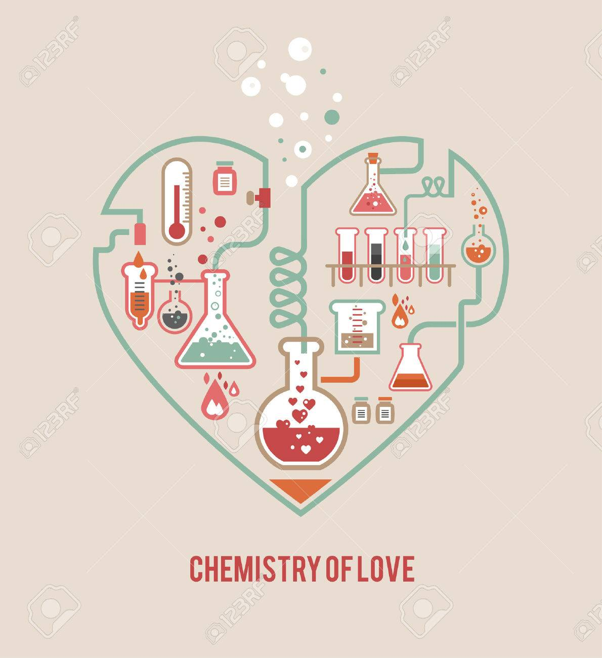 Chemistry Of Love, Valentineu0027s Day Card Stock Vector   25247219