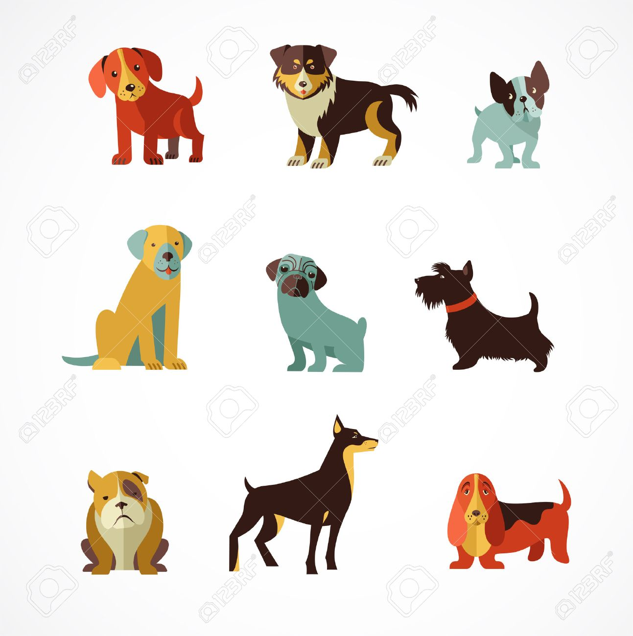 Dogs Vector Set Of Icons And Illustrations Royalty Free Cliparts Vectors And Stock Illustration Image 26573930