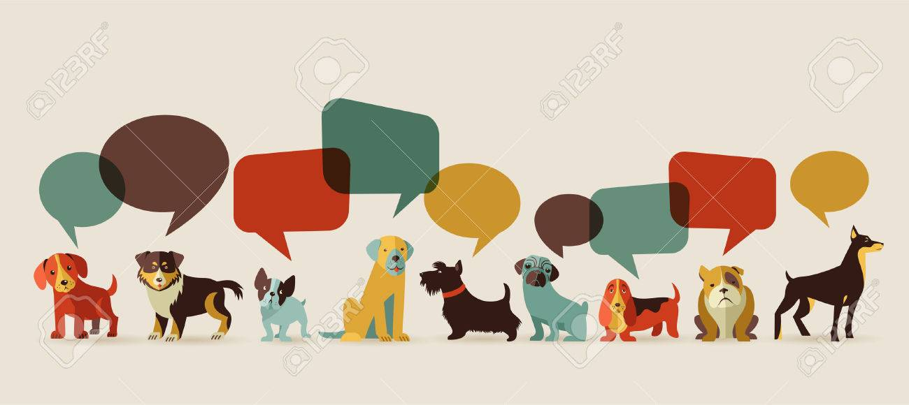 Dogs with speech bubbles - vector set of icons and illustrations Stock Vector - 26573934