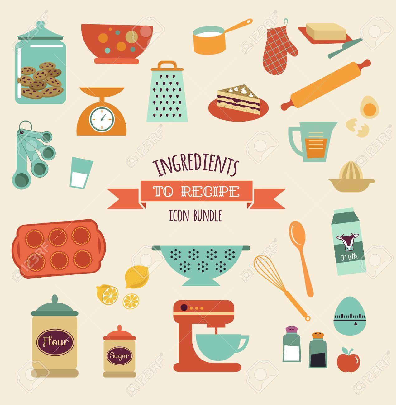 Recetas Y Cocina De Diseño De Vectores E Iconos, Elementos ...