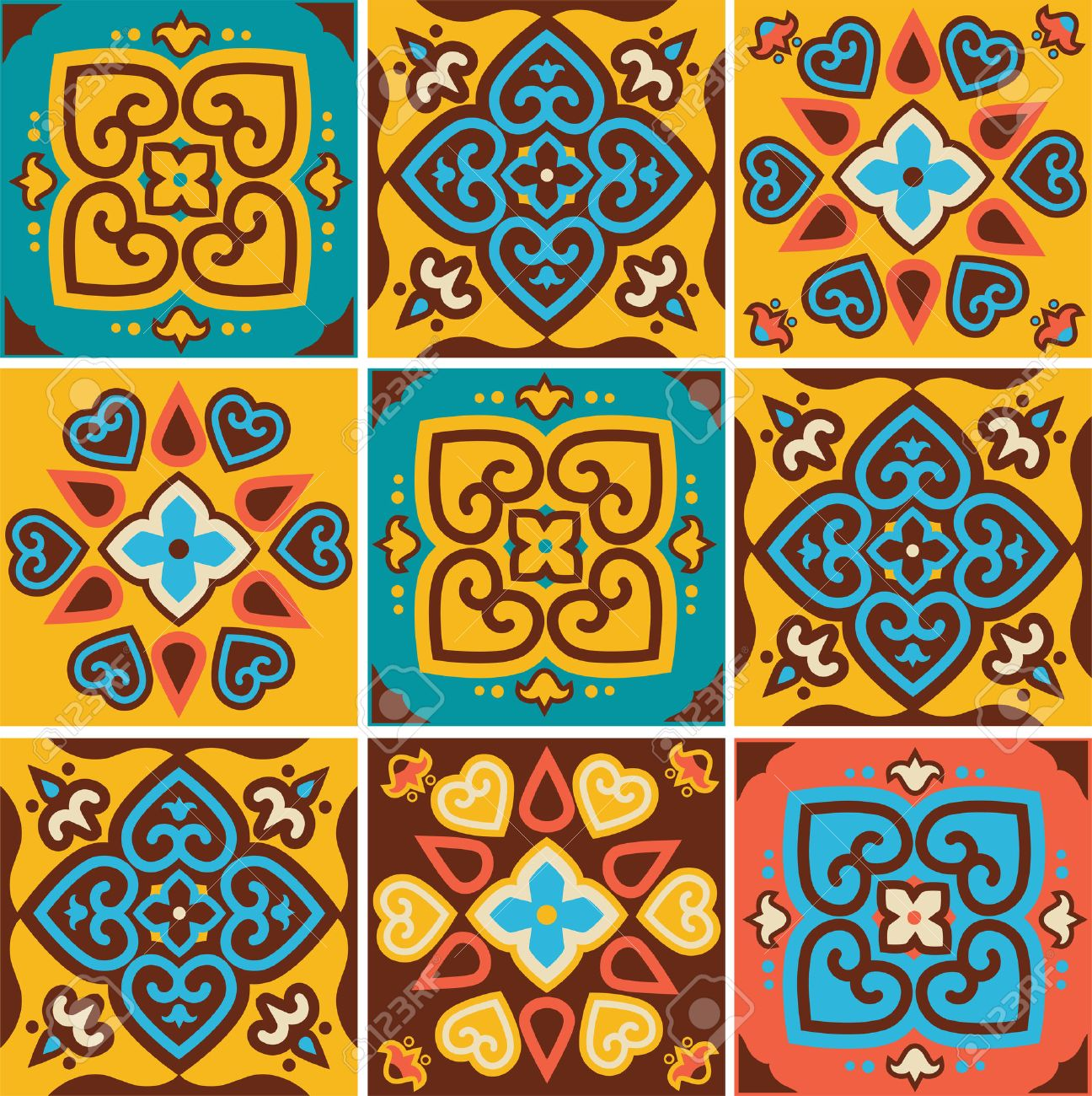 Traditional Ceramic Tiles Patterns Royalty Free Cliparts, Vectors ...