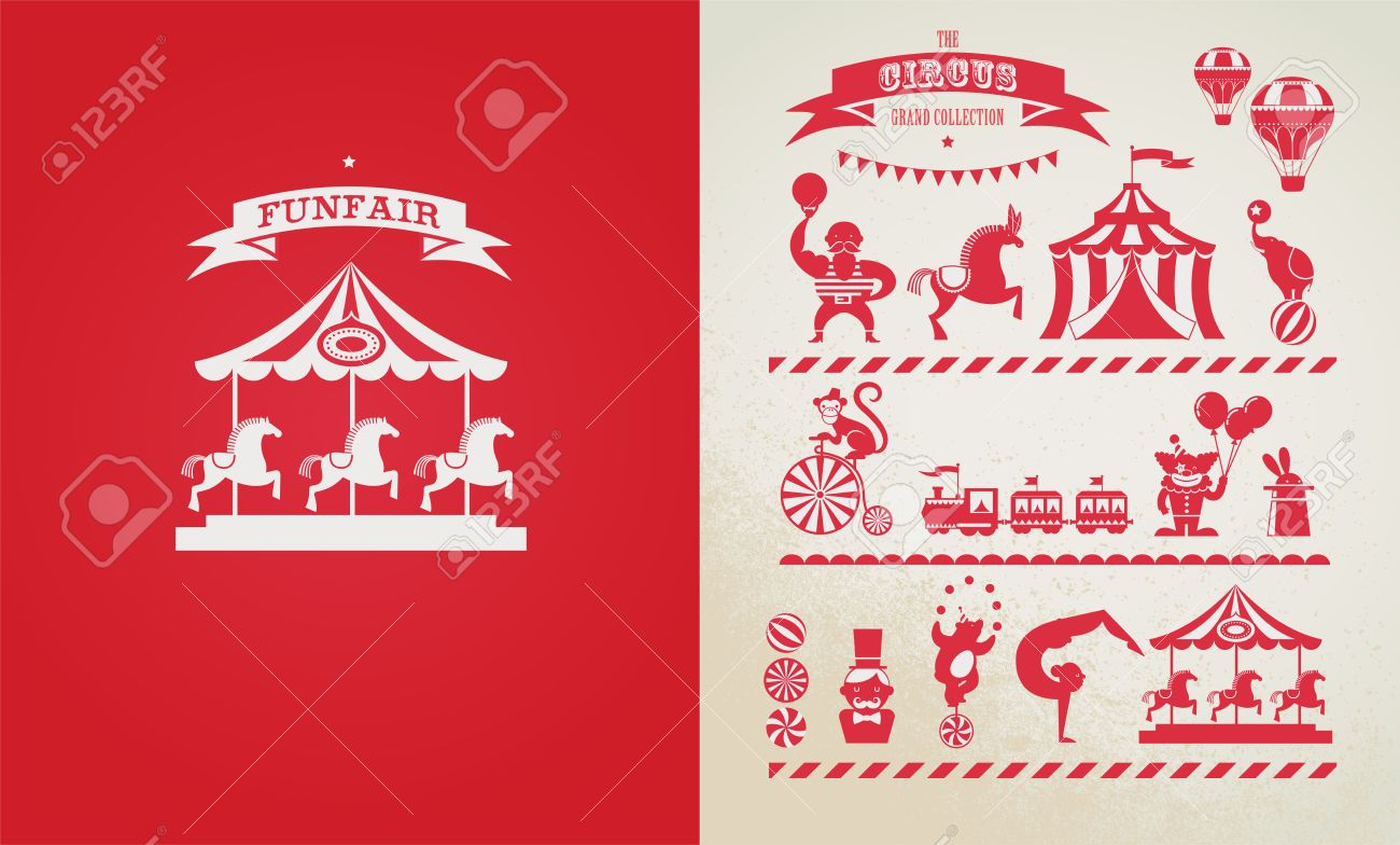 Vintage Poster With Carnival, Fun Fair, Circus Vector Background ...